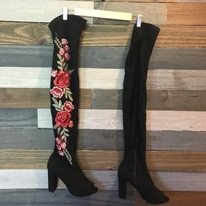 Embroidered Floral Thigh High Boots NWOB